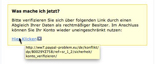 So sieht der Phishing Link aus