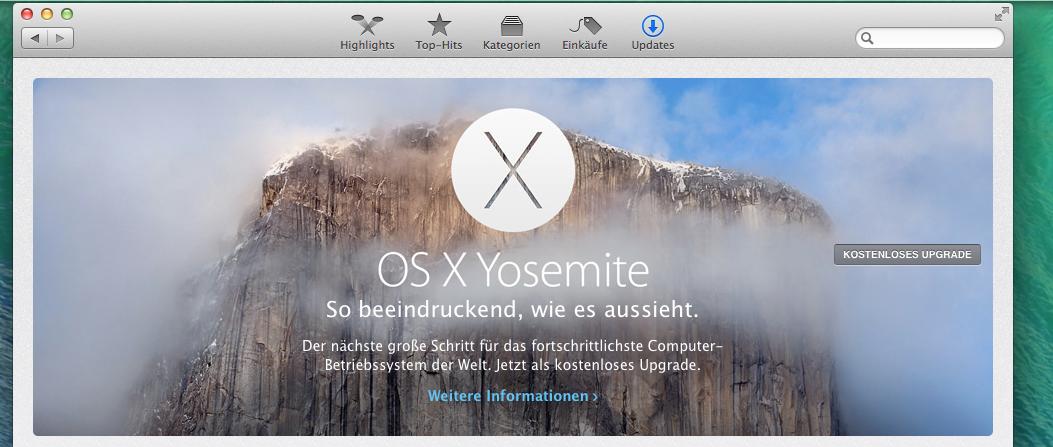 Yosemite Bild im App Store
